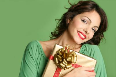 Woman with christmas gift